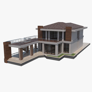 3D villa separate rooms model