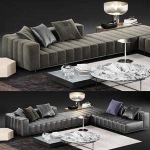 3D minotti freeman tailor sofa