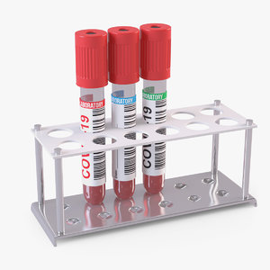 3D test tubes blood rack model