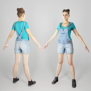 3D photogrammetry young woman a-pose