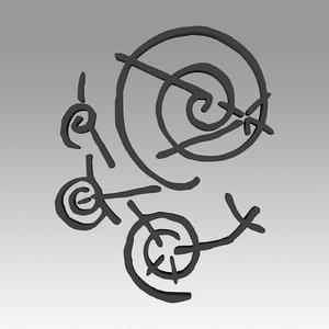 3D star symbol chah model