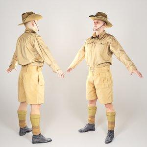 australian infantryman character a-pose model