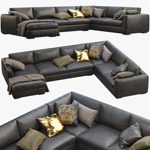 3D modena taper arm u-sofa