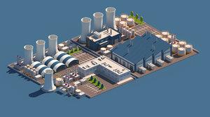 cartoon city industry 3D model