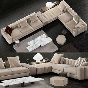 minotti freeman sofa coffee table 3D model