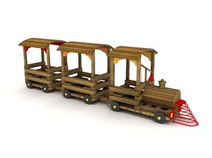 3D wood train play model