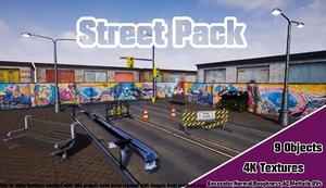 -bench road barricade barrier 3D model