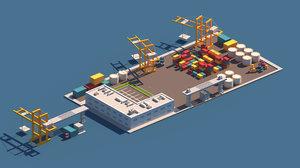 3D cartoon port package model