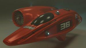 3D futuristic racing ship