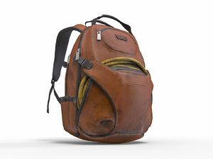 realistic old backpack model
