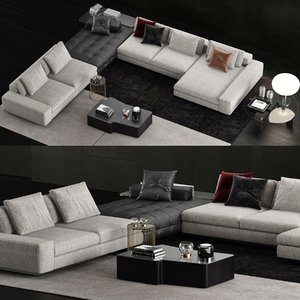3D minotti lawrence sofa coffee table model