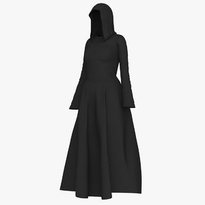 3D woman long dress hooded model