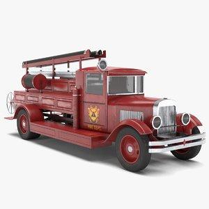 3D old firetruck model