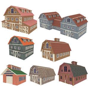 barn hangar farm houses 3D model