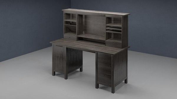 Modelo 3d Escritorio Ikea Hemnes, Ikea Hemnes Secretary Desk