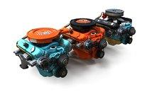 Mopar V8 engine lowpoly