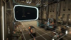 space low-poly hangar 3D model