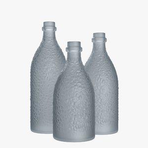 3D model bottles frosted glass -