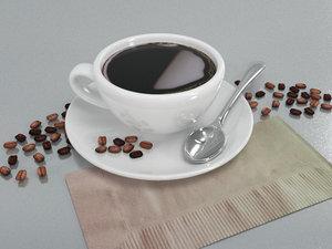 3D model cup coffee seeds spoon