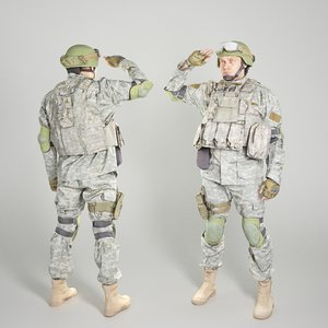 equipped soldier american military uniform 3D model