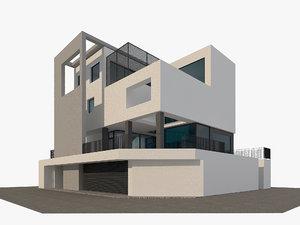 3D corner cubic house modern