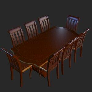 3D vintage furniture dining table model