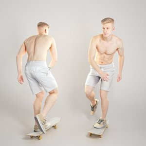 3D sporty young man riding
