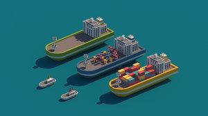 cartoon package city 3D model