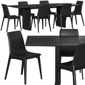 3D set dining chair model