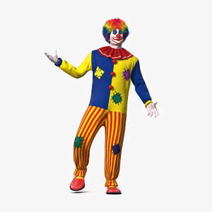 adult clown suit standing 3D model
