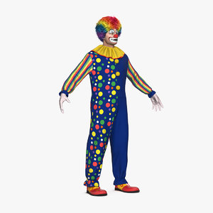 3D model funny clown costume fur