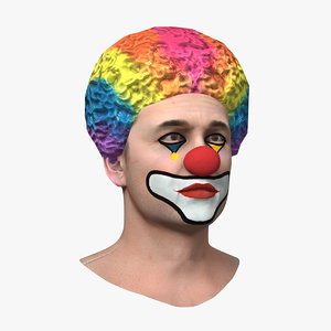 3D man clown head mens