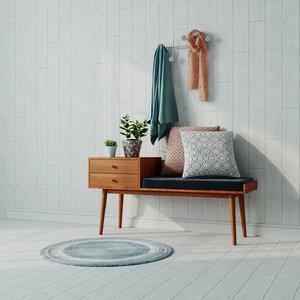 3D seat bench ottoman model
