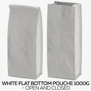 3D model white flat pouche 1000g