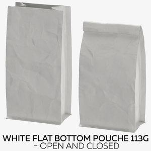white flat pouche 113g 3D model