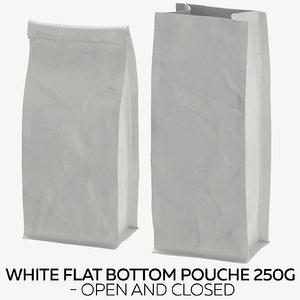 white flat pouche 250g 3D model