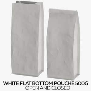 3D white flat pouche 500g model