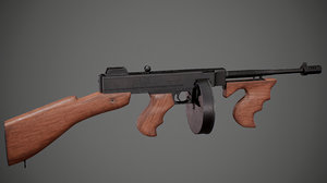 3D thompson submachine gun