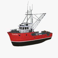 Fishing Trawler Low-poly PBR