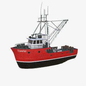 fishing trawler boat pbr 3D model