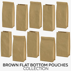 3D brown flat pouches model