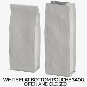 white flat pouche 340g 3D model