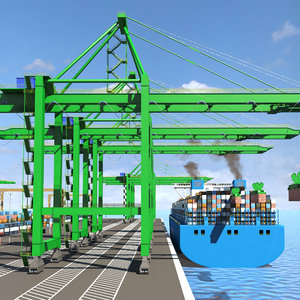 3D model port container terminal