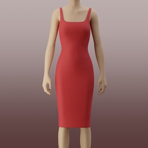 bodycon pencil dress 3D model