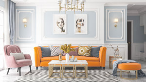 3D living room white neoclassical