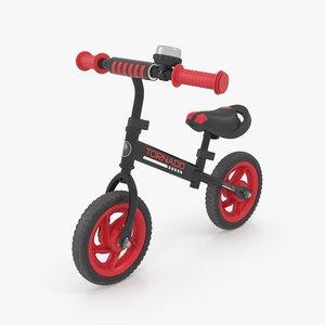 3D balance bike black model