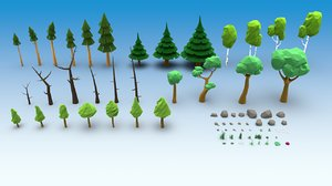 trees stones grass mushrooms model