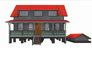3D anglo caribbean house wood