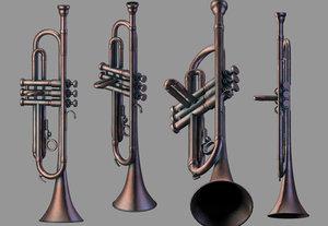 3D trumpet wind instruments low-poly