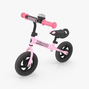 3D pink balance bike
